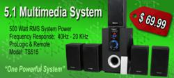 Theater Solutions TS515 5.1 Surround Sound System On SALE TODAY ONLY