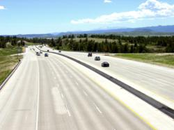 Cars traveling along a Colorado highway.