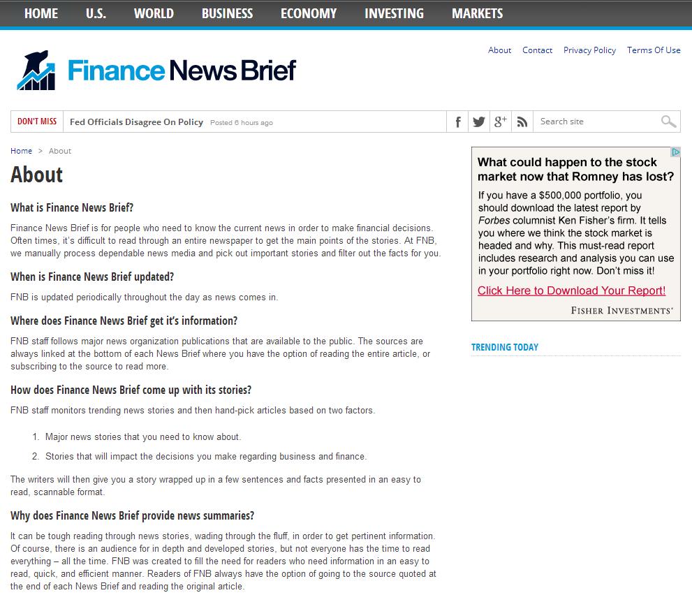 Finance News: Finance News Brief Launches Useful Website With Headline