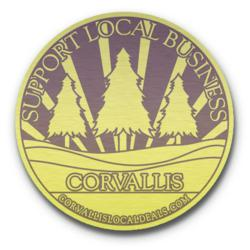 Rendition of the obverse of the Corvallis Local Deals commemorative coin