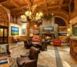 The lobby of the Wyoming Inn in Jackson Hole, Wyo., invites snowmobilers with a cozy fire.