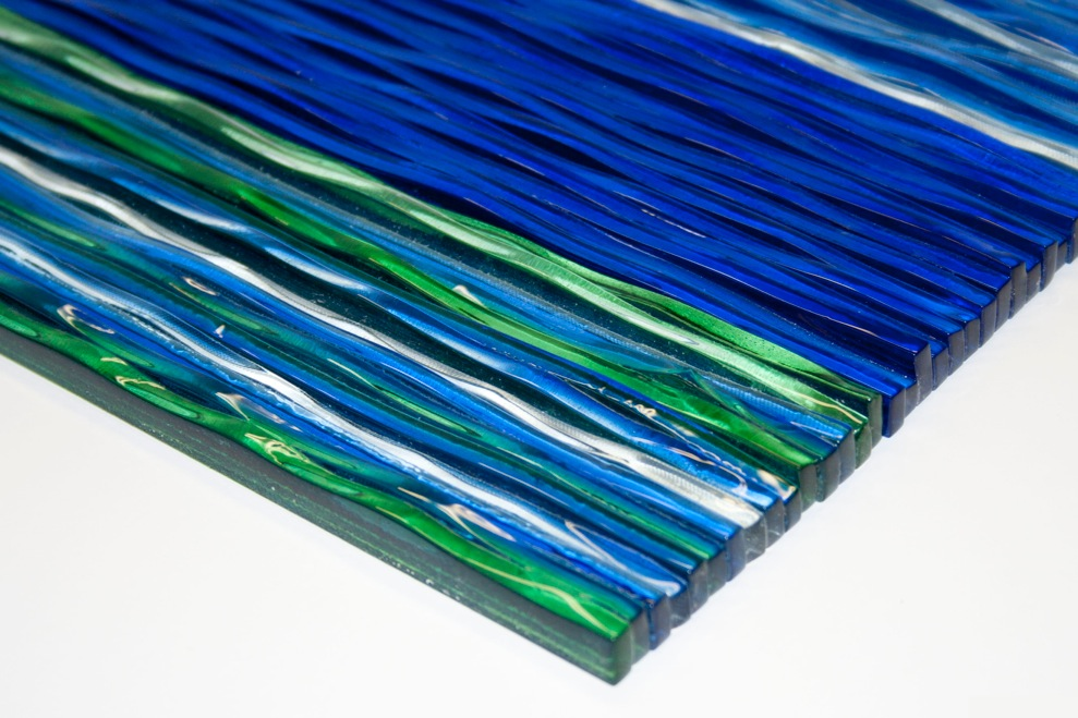 Cobalt Blue Backsplash Tile Grey Natural Stone Crystal Mosaic