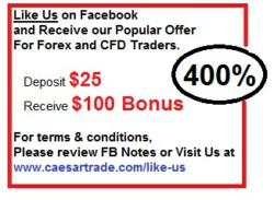 Display of offer of 400% Forex Bonus with CaesarTrade FX-CFD
