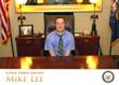 Adam Christensen enjoying his visit to Senator Lee's office.