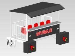 Final product drawing of Donkey customized for Catholic University - featuring an extended depth platform that allows standing room behind the bench, dual two-step entries for front and rear occupants and wheel protector pads with logo.