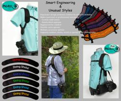 Camera strap with options to carry a tripod, camera gear and have choices in decorative custom camera strap designs.