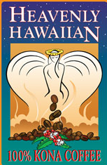 100% Kona Coffee, Heavenly Hawaiians in the new USA awarding winning label
