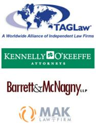 New TAGLaw members Kennelly &amp; OKeeffe (North Dakota, USA); Barrett &amp; McNagny (Indiana, USA) and MAK Law Firm (Jeddah, Saudi Arabia).
