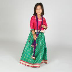 Indian Kids Clothing: Green Lehenga with Pink Blouse