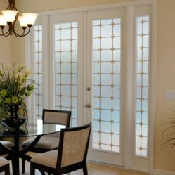 Stained glass window film Monterey Sun decorating and adding privacy to French doors.