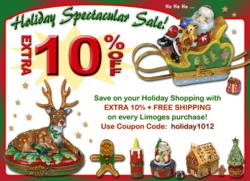Holiday Extra 10% Sale + Free Shipping at www.LimogesBoxCollector.com