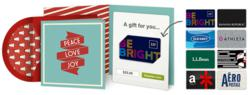 Gift cards from leading brands inside a digital card.