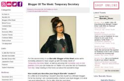 An example of one of Barratt's Blogger of the Week profiles