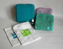 Hands & Faces Washable Baby Wipes Kit, inc wipes and travel bag, soaking box and solution.