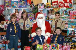 Pack 353 has collected an average of 500 toys each of the last four years, but is hoping to exceed that this year, and set a new record at 550 toys.