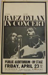 Bob Dylan/Joan Baez 1965 Public Auditorium Portland, Oregon Concert Poster
