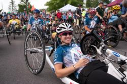 Image of Kelly Brush Davisson before start of 2012 Kelly Brush Century Ride