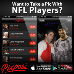 Take pics with your favorite NFL Players.  Download Our Free App for complete list of players.