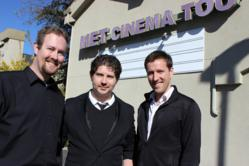 From left, Matt Sconce, James Nelson and Keith Walker are working to create a new business model for the local theater that they hope will allow the movie house to reopen.