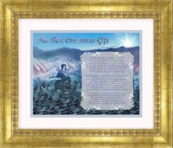 Original Christmas Poem Presented in Double Matted Gold Wood Frame