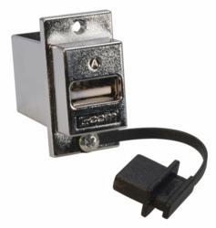L-com's USB Type A Jack Dust Cover Affixed to L-com's ECF-style USB Jack via Lanyard