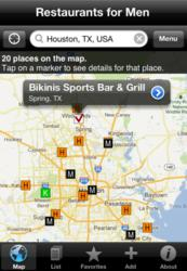 A screenshot from Restaurants for Men's interactive map.