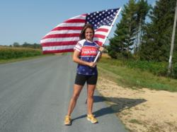 A member of Team Hope For The Warriors shows her American pride