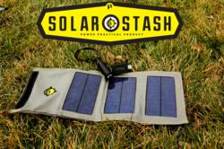 Solar stash folding solar panel, with the WP2400 water resistant rechargeable lithium ion USB charger/flashlight, and practical meter.