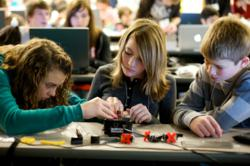 Students competing in the Botball competition