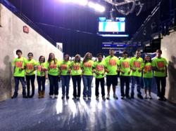 "The student ""Relief Team"" is ready to hit the stands in neon to start collecting money for Hurricane Sandy relief."