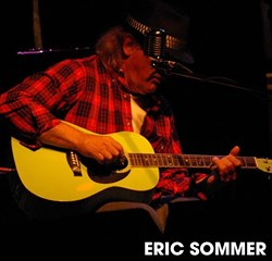 Eric Sommer at THe Record Bar, KC/MO with his favorite green parlor guitar