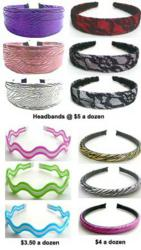 Dozen packs of headbands at $3.50 to $5 a dozen