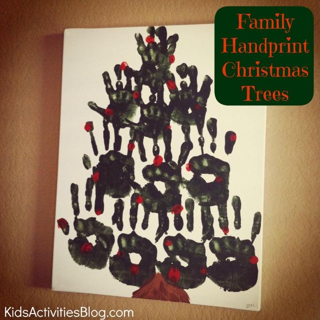 Handprint Christmas Tree On Canvas