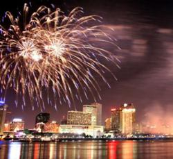 Fireworks on the Mississippi River at a New Orleans New Year's Eve Celebration