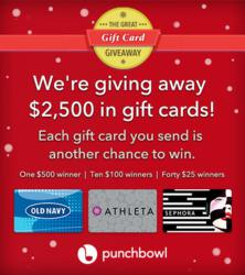 Every gift card you send is another chance to win.