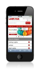 Home page of the Lamps Plus website is optimized for mobile users