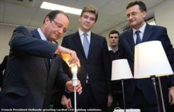 French president Hollande impressed by Lucibel LED lighting innovations.