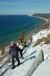 Snowshoeing at the Sleeping Bear Dunes near Traverse City