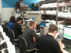 Employees working in data recovery Lab during Hurricane Sandy