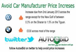 2013 new car price increases