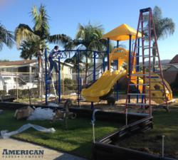 Riviera Playground Structure being installed