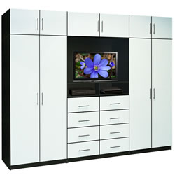 Aventa Bedroom Wall Unit in Black and White
