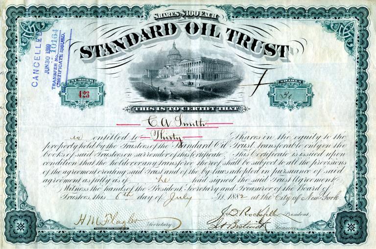 Scripophily Com Offers Original Standard Oil Trust Stock