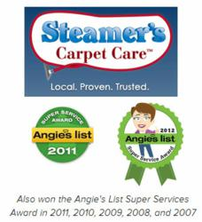 San Antonio carpet cleaners at Steamer's Carpet Care have earned the Angie's List Super Services Award for six consecutive years.