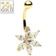 image of 14Kt Yellow Gold Petal Flower Belly Ring