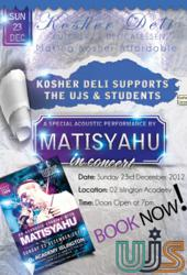 Kosher Deli supports Matisyahu concert hosted by the UJS