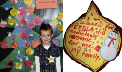 "Dylan in front of the ""Thankful Tree"" at the 2011 Family Holiday Party (left). The ornament features one family's thanks to the Epilepsy Foundation of Greater Los Angeles (right)"