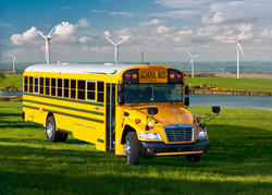 The Blue Bird Propane-Powered Vision bus is powered by the Ford 6.8L engine, which is designed and engineered to operate on propane utilizing the ROUSH CleanTech Liquid Propane Autogas Fuel System.