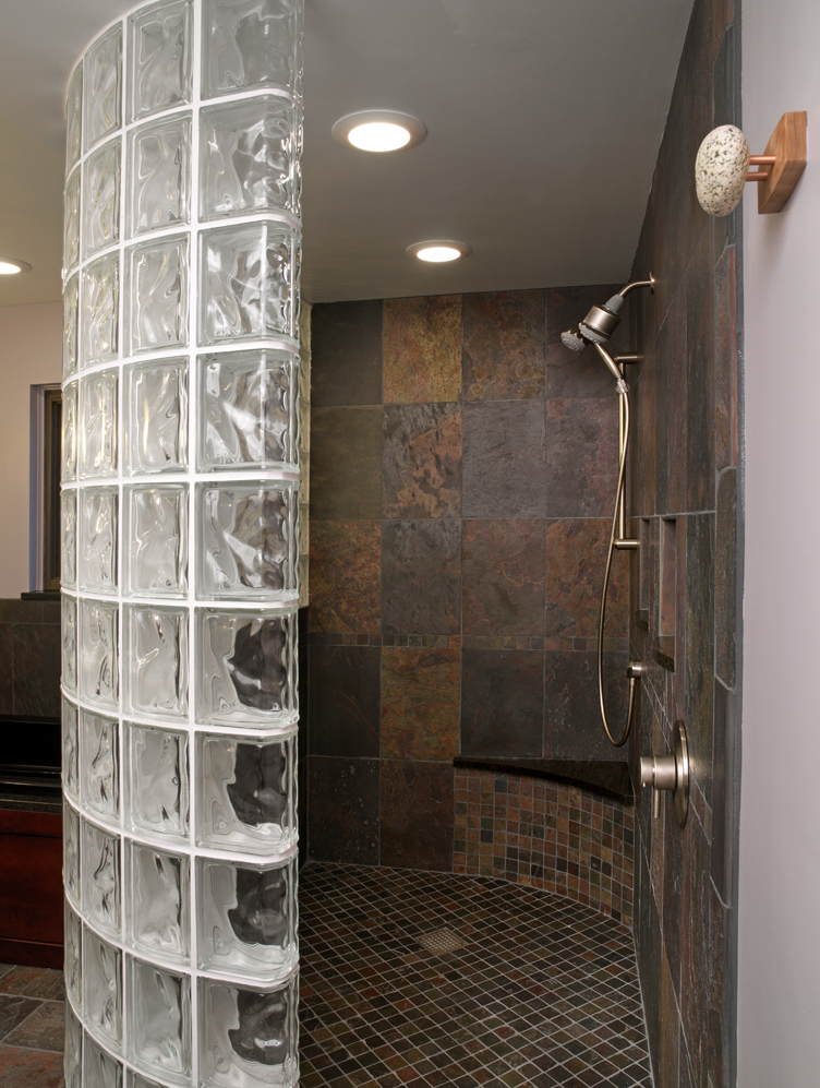 New thinner glass block shower wall product saves money - Glass bricks designs walls ...