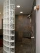Curved glass block walk in shower in Columbus Ohio
